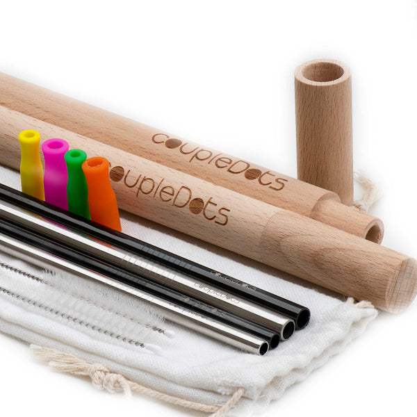 Stainless Steel (Metal) Drinking Straws with Wooden Case & Silicone Tips - EcoFreax | Think Bigger.