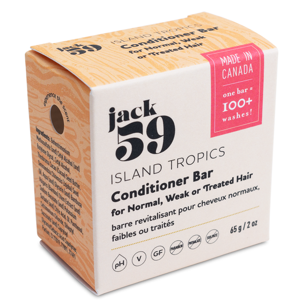 jack 59 | island tropics vegan conditioner bar for normal, weak or treated hair