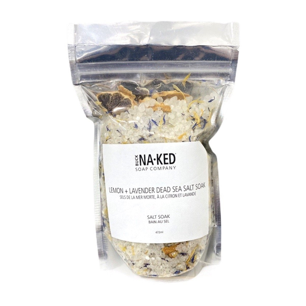 Buck Naked | lemon & lavender dead sea bath salt soak - EcoFreax | Think Bigger.