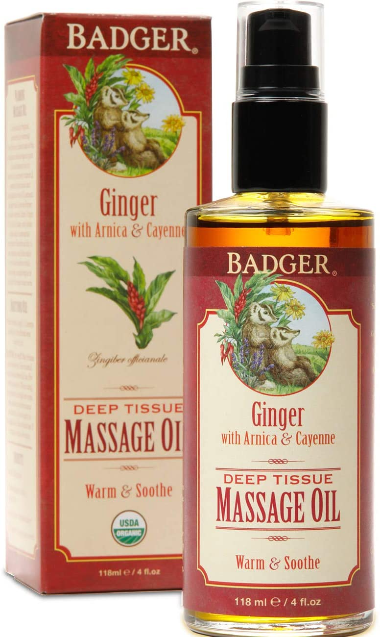 ginger deep tissue organic massage oil | badger