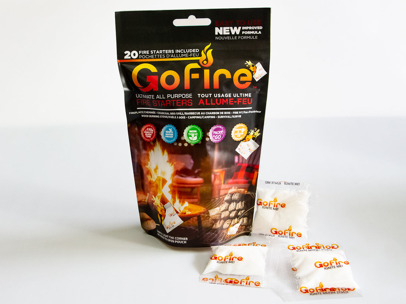 GoFire Ultimate All Purpose Fire Starter, Bag of 20 Firestarter Packs
