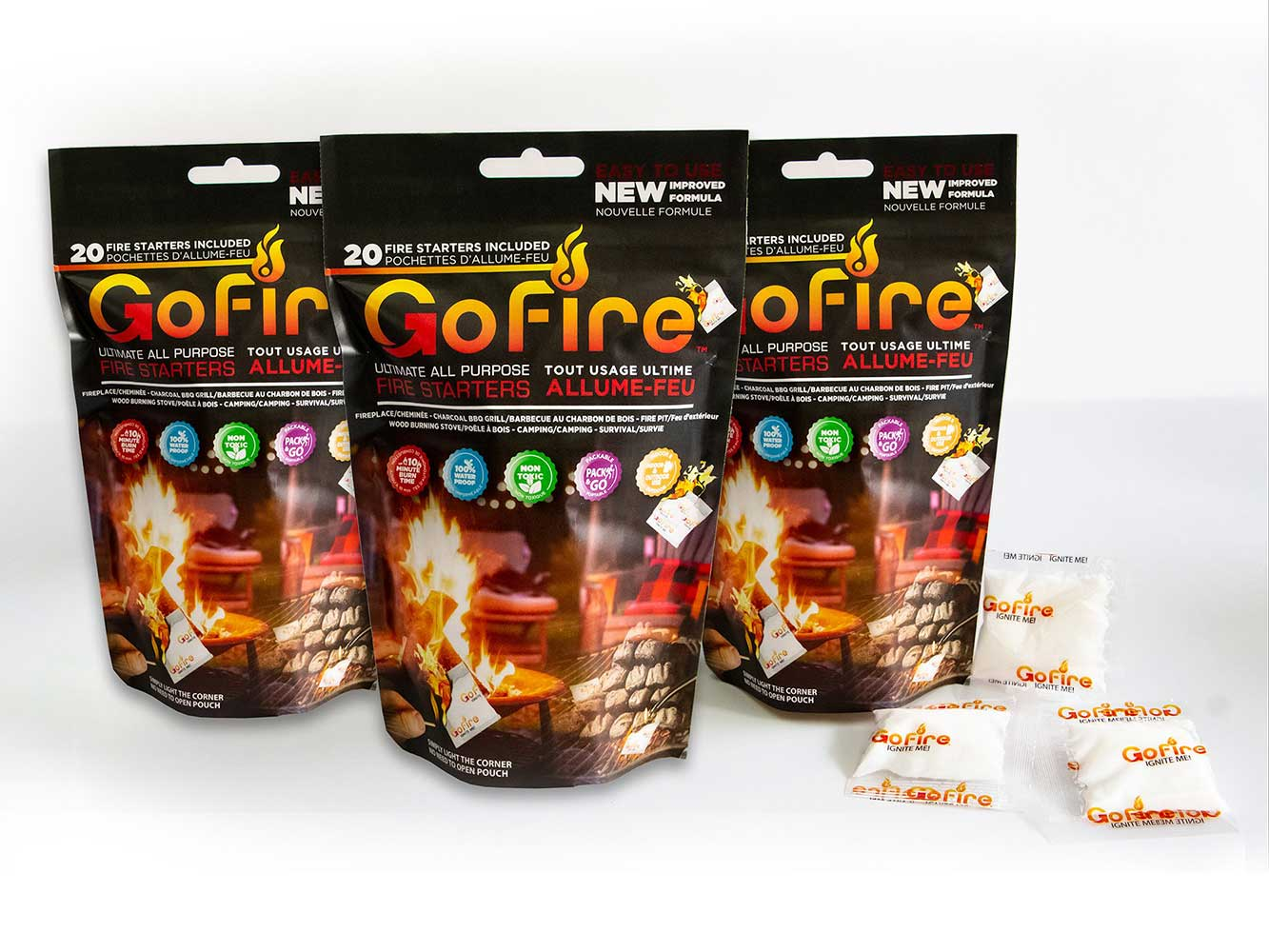 GoFire Ultimate All Purpose Fire Starter, 3 Bags of 20 Firestarter Packs