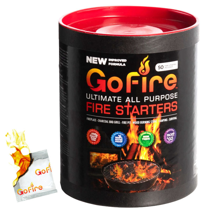 GOFIRE™ 50 PIECE TUBE ULTIMATE ALL-PURPOSE FIRE STARTERS [IMPROVED FORMULA]