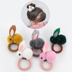 Cute animal hair ball rabbit hair ring female rubber band elastic hair bands - Stella Select