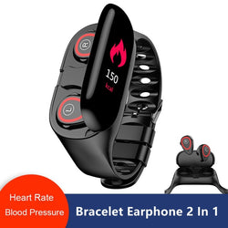 2 in 1 Smart Watch With Wireless Bluetooth Earphones and Heart Rate Monitor
