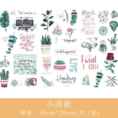 3pcs/set  2019NEW Cartoon Flowers Leaves Sticker  DIY Diary Decor Stickers Scrapbook cute Stationery Bullet Journal Supplies