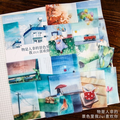 40pcs/pack Creative Journal Decorative Sticker Label Diary Stationary Japanese Deco Photograph Album Sticker Flakes Scrapbooking