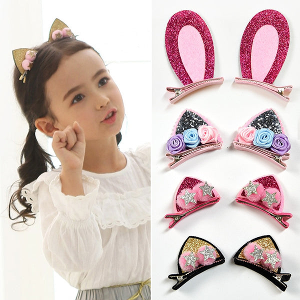 2pcs/Set Cute Hair Clips For Girls Glitter Rainbow - Stella Select