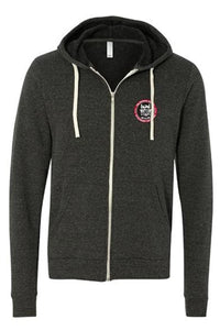 Full Zip Embroidered Hoodie - Charcoal