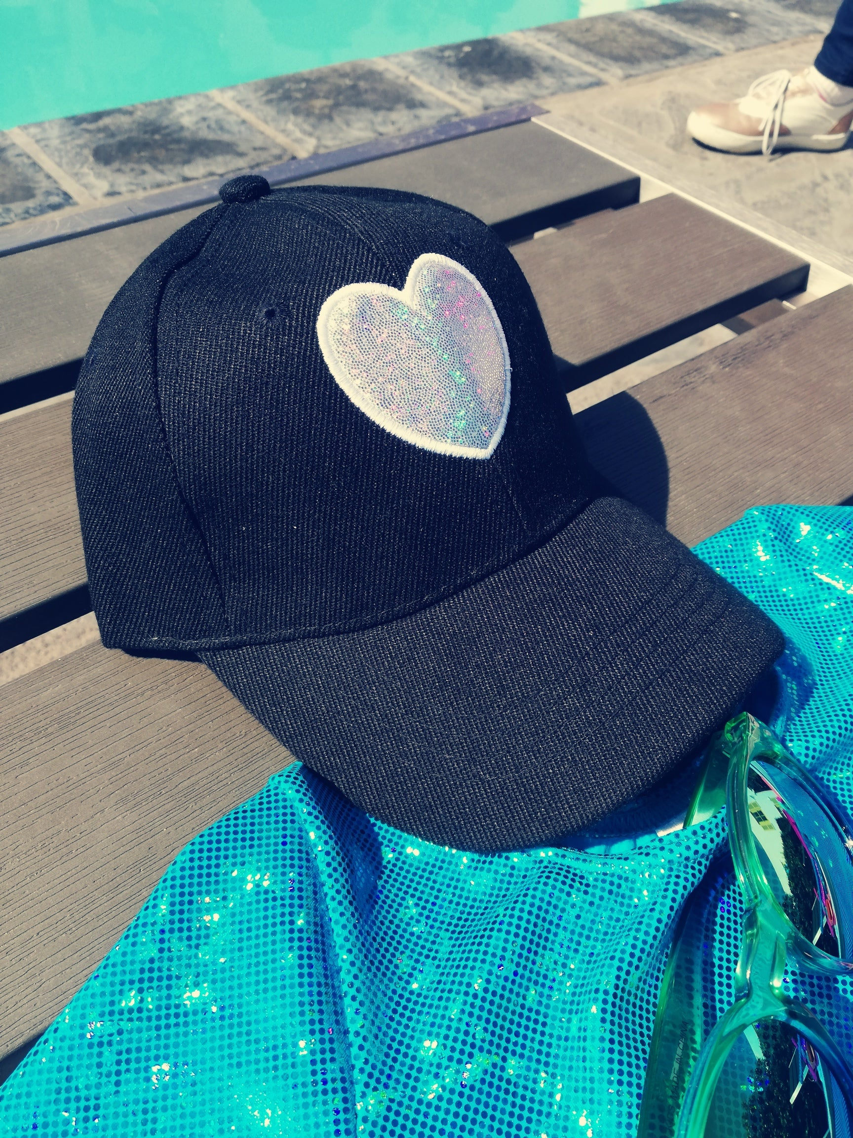 Sparkle Heart Girls Cap in Black(In Stock) - Livy Loves