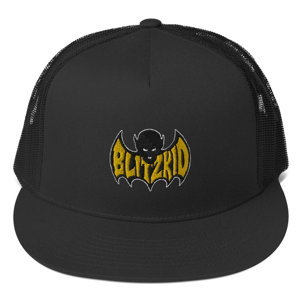 Snapback Trucker Hat- Blitzkid SHADOWBAT ORANGE (embroidered)