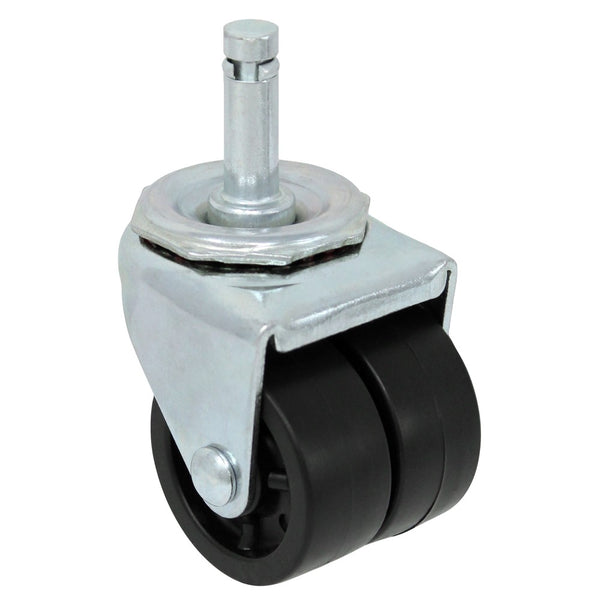 "2"" Double Wheel Polyolefin Grip Ring Stem Caster - 200 lbs. Capacity"