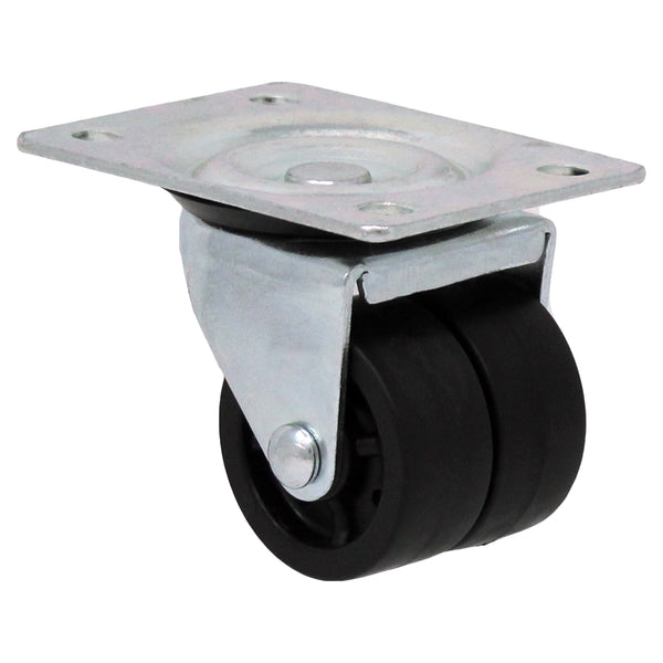 "2"" Double Wheel Polyolefin Swivel Caster - 200 lbs. Capacity"