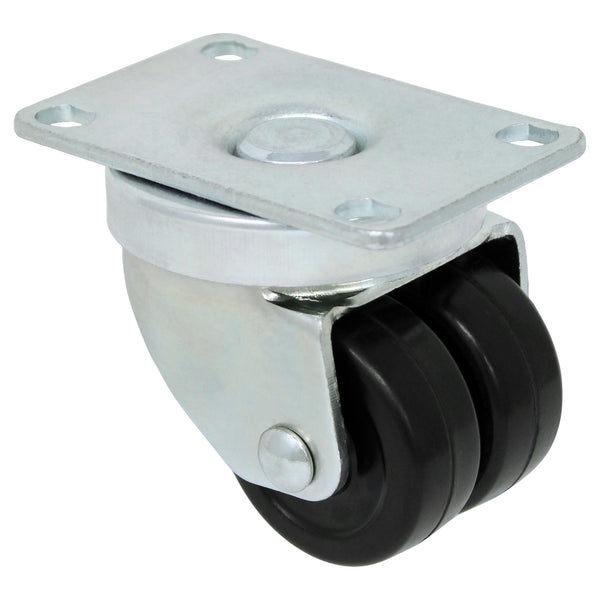 "2"" Double Wheel Hard Rubber Swivel Caster - 250 lbs. Capacity"