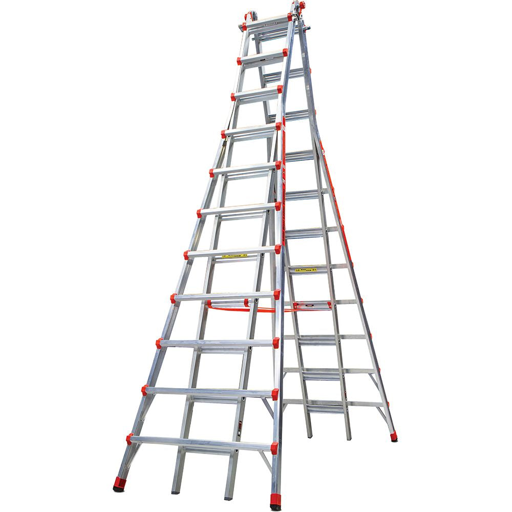 11-21 Ft. Skyscraper Aluminum Adjustable Twin Step Ladder - Type IA