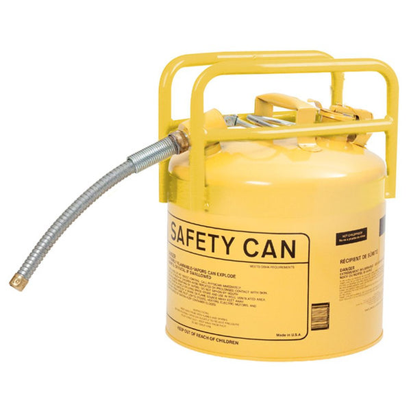 "DOT Type II Safety Can For Diesel 5 Gal, Ylw Galv. Steel, 5/8"" Hose"
