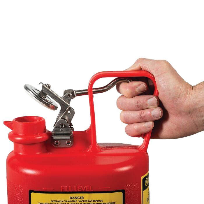 Oval Safety Can for Flammables, S-S Hardware, Flame Arrester, 1-2 Gallon, Self-Close Cap, Poly - 14065