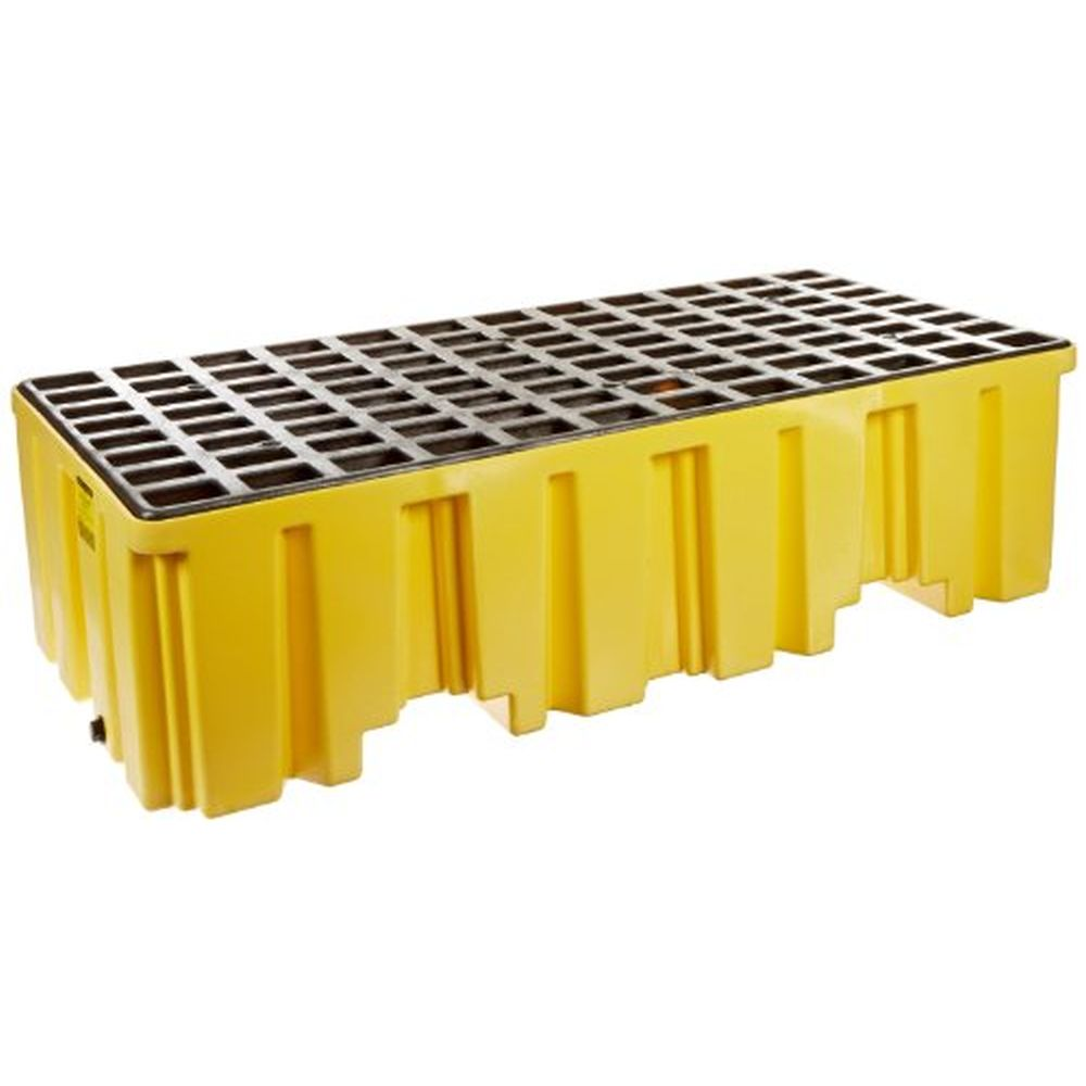 2 Drum Pallet Yellow w/ Drain
