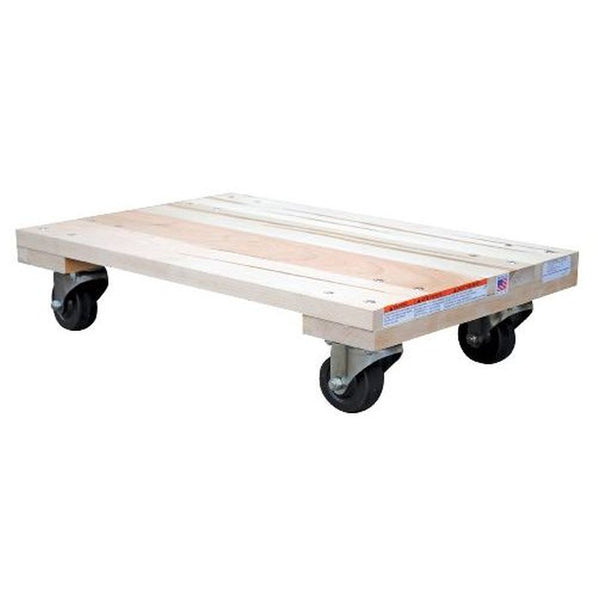 Solid Deck Hardwood Dolly w/ Hard Rubber Caster