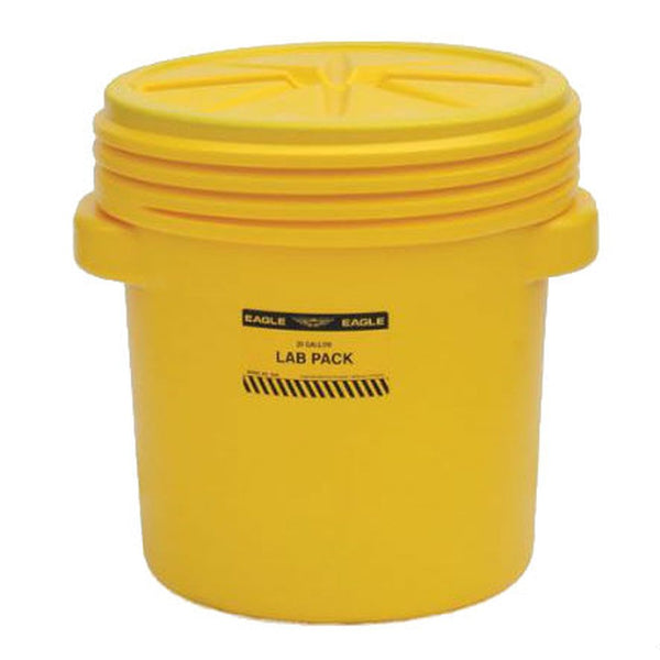Lab Pack Poly Drum, 20 Gal, Yellow w/ Screw-on Lid
