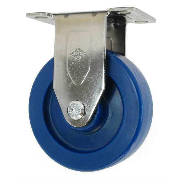 "4"" x 1-1/4"" DuraLastomer Wheel Rigid Caster Stainless Steel - 350 lbs. capacity"
