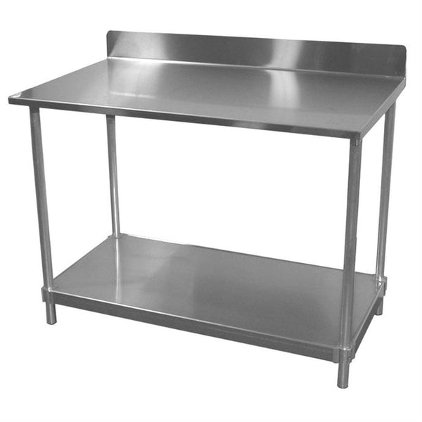 "16 Gauge Stainless Steel Top Table (30""D) w/ Backsplash"