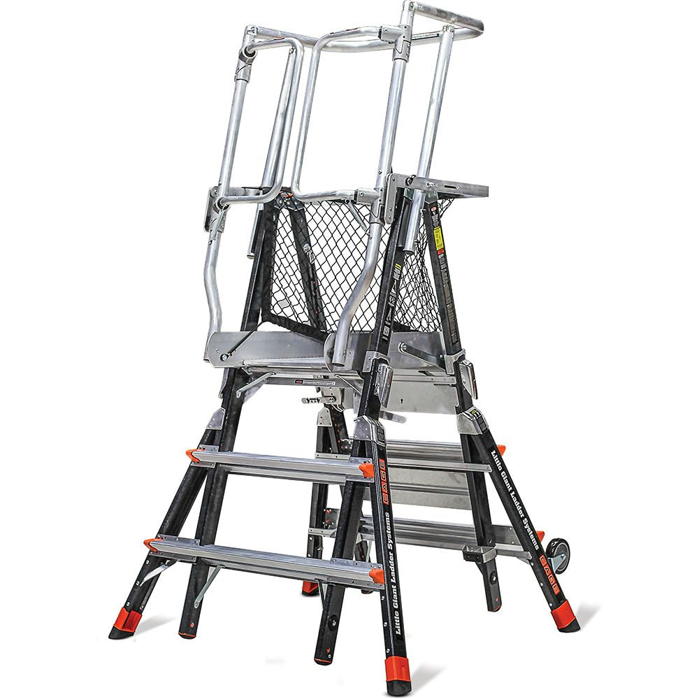 Adjustable Safety Cage Model 3-5 Fiberglass Step Ladder - Type IAA