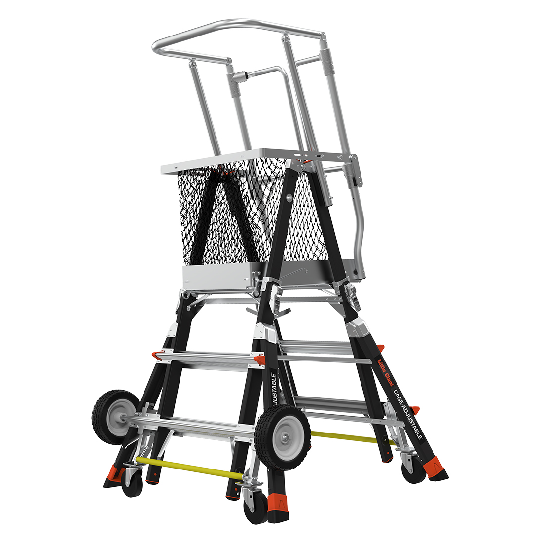 Adj. Safety Cage Model 3-5 Fiberglass Ladder, All-Terrain Wheels,  IAA