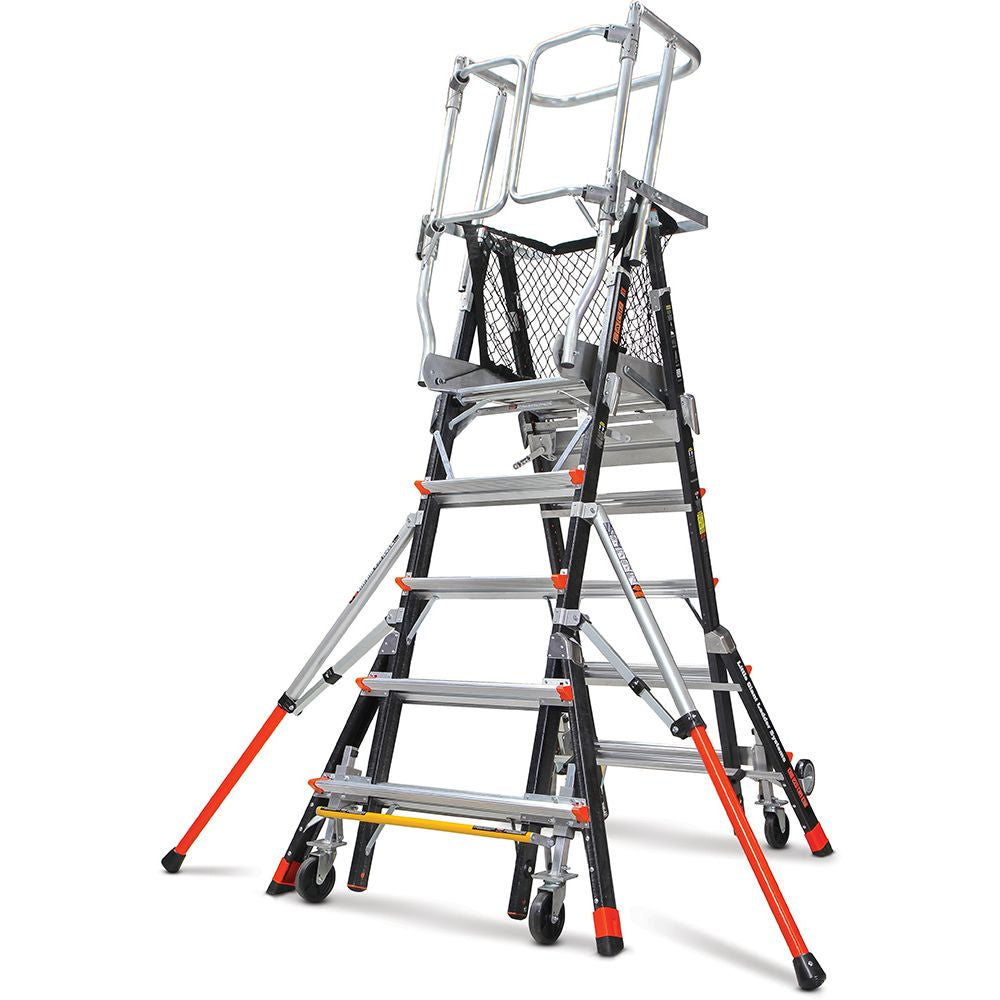 Adjustable Safety Cage Model 5-9 Fiberglass Step Ladder - Type IAA