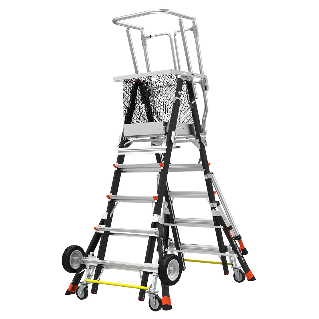 Adj. Safety Cage Model 5-9 Fiberglass Ladder, All-Terrain Wheels, IAA