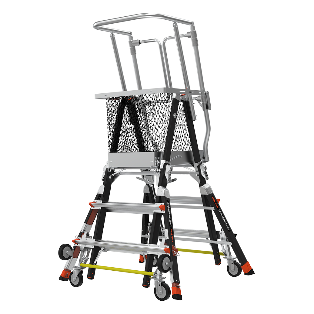 Adj. Safety Cage Model 3-5 Fiberglass Ladder, Ratchet Levelers, IAA