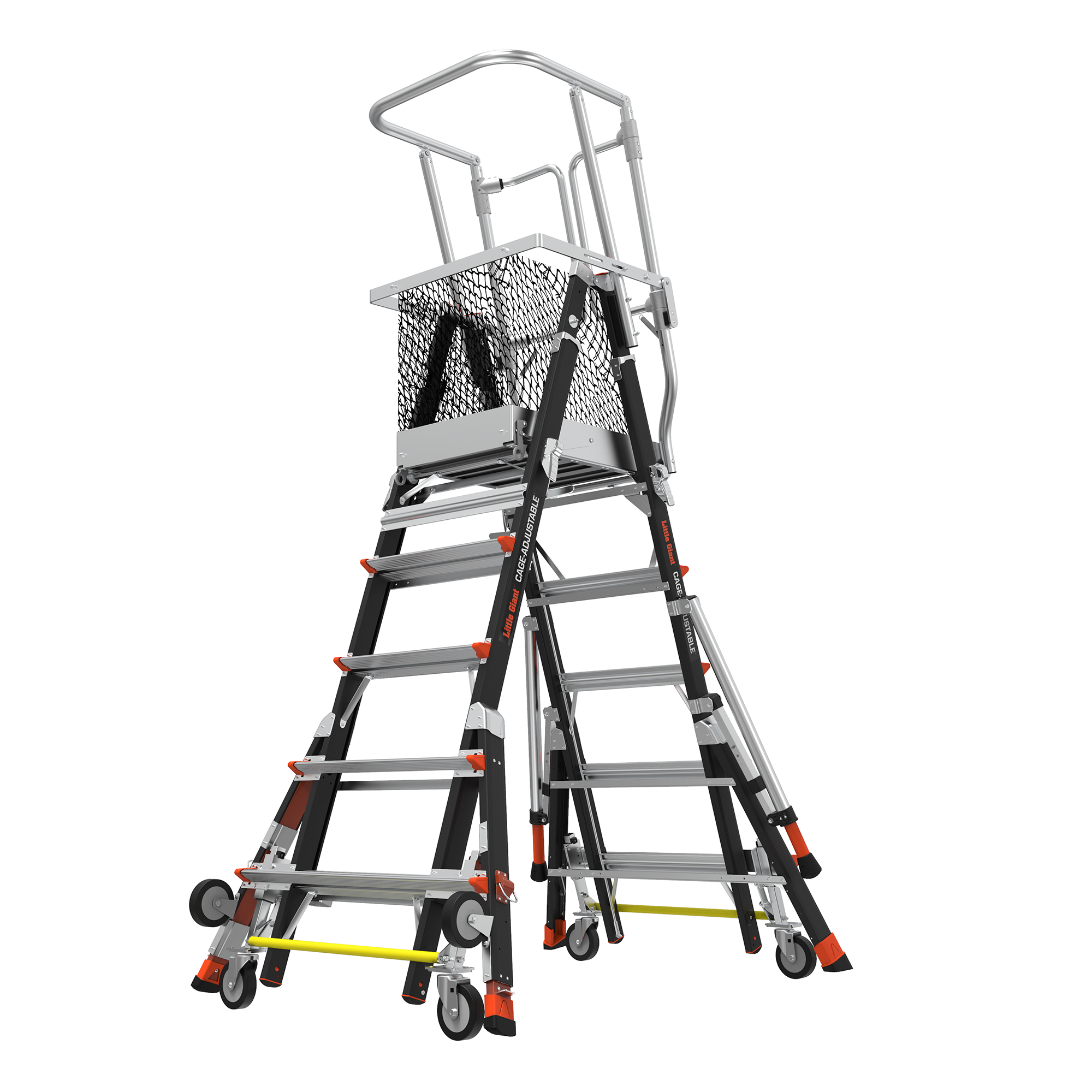 Adj. Safety Cage Model 5-9 Fiberglass Ladder, Ratchet Levelers, IAA