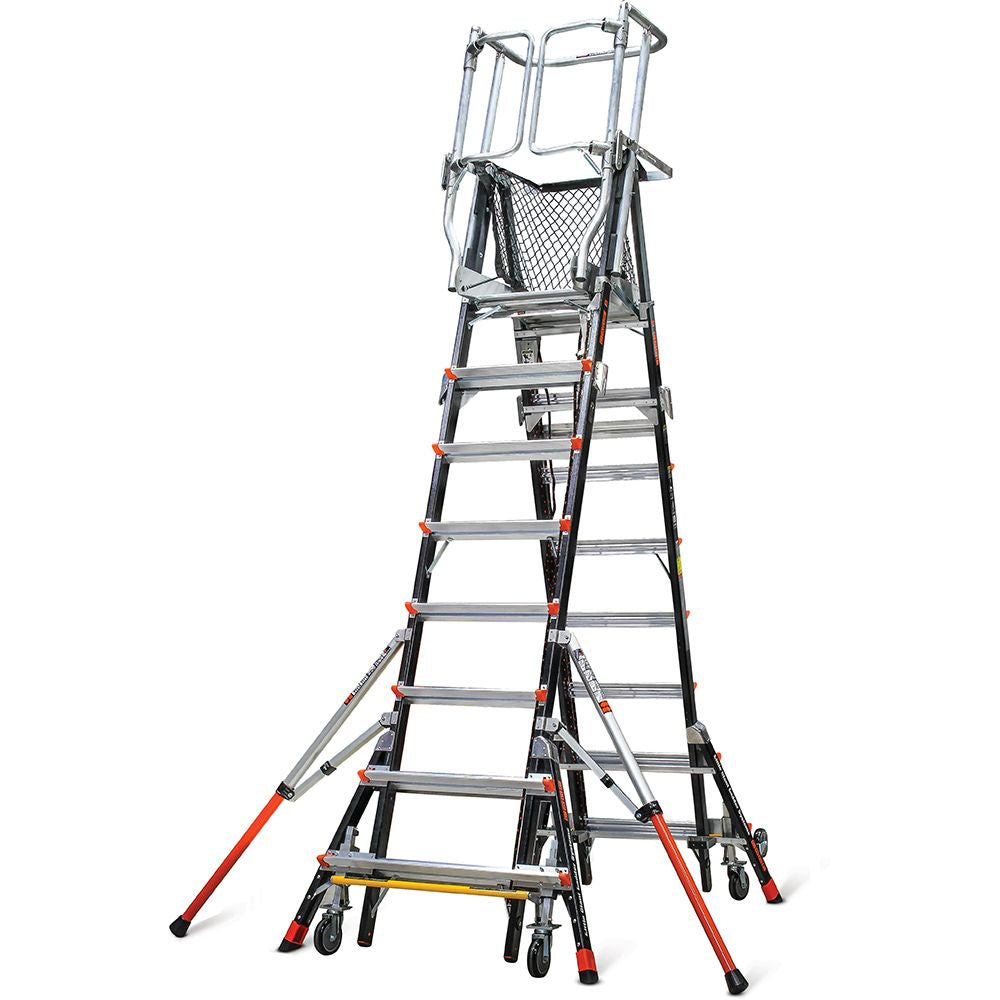Adjustable Safety Cage Model 8-14 Fiberglass Step Ladder - Type IAA