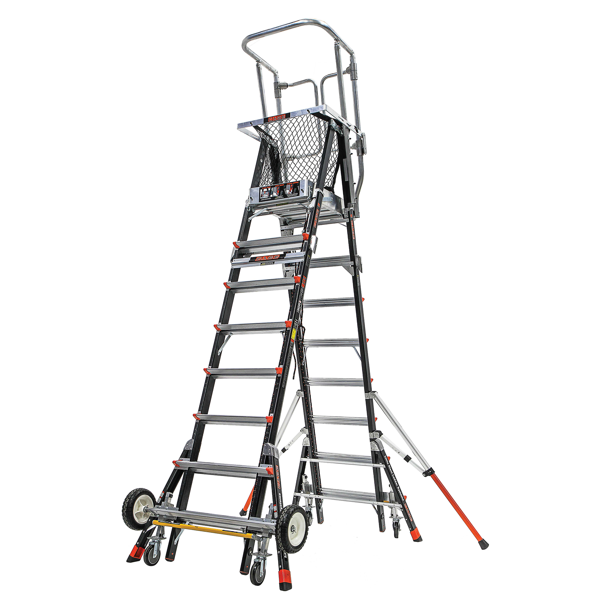 Adj. Safety Cage Model 8-14 Fiberglass Ladder, All-Terrain Wheels, IAA