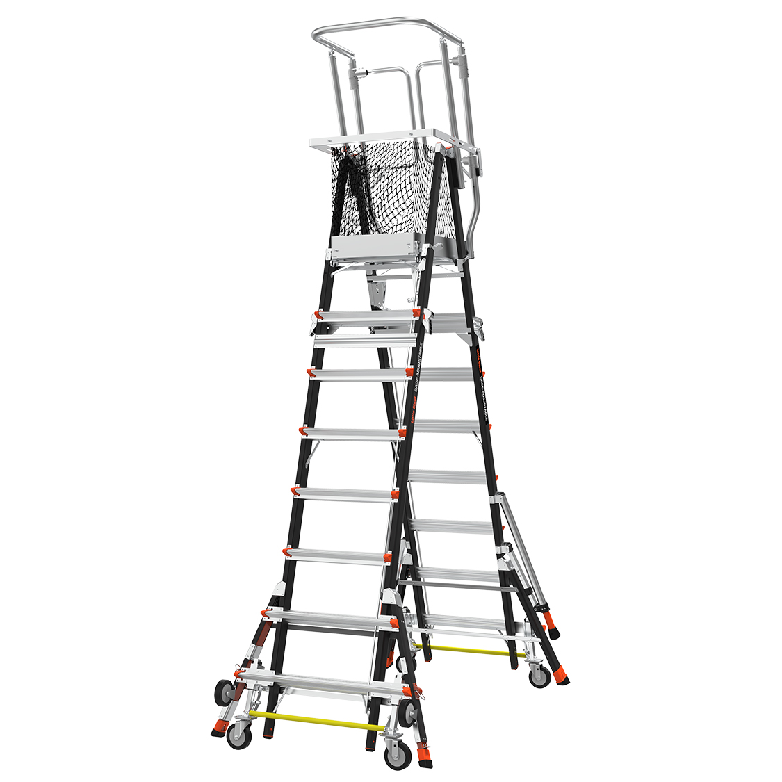 Adj. Safety Cage Model 8-14 Fiberglass Ladder, Ratchet Levelers, IAA