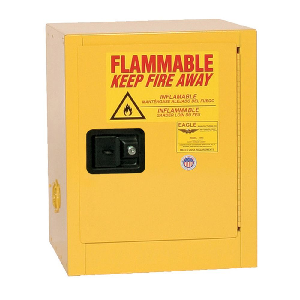 Flammable Liquid Safety Storage Cabinet 4 Gal. Ylw, 1-Dr, Manual Close