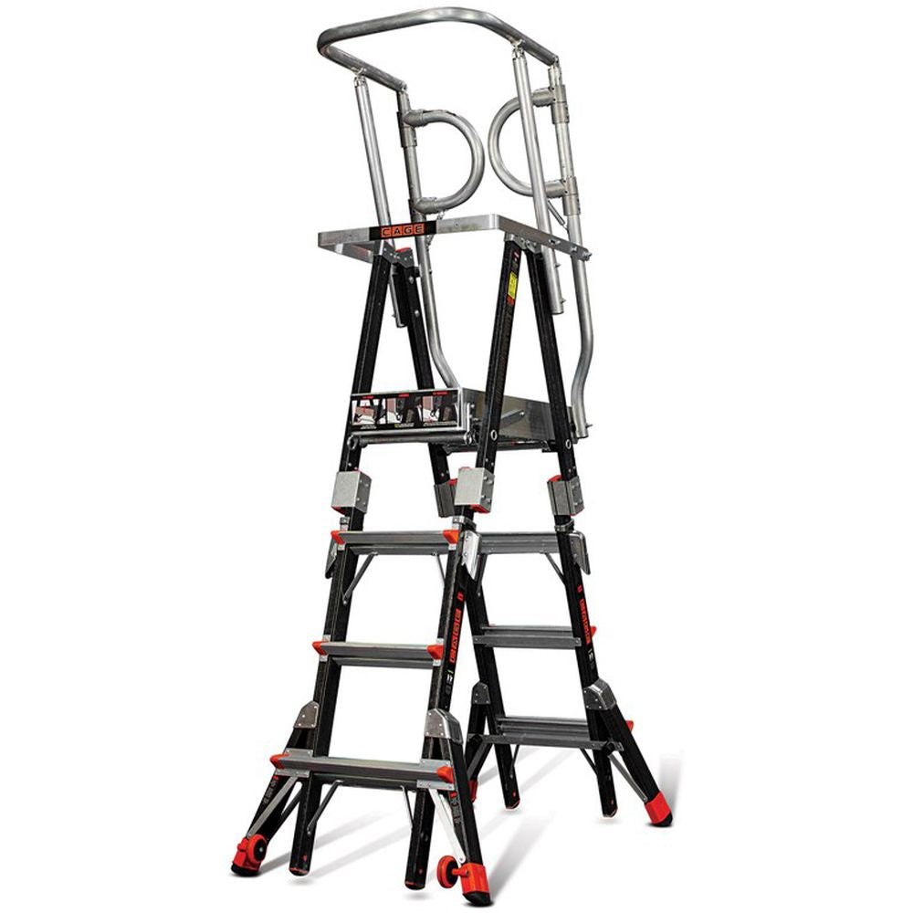 Compact Safety Cage Model 4-6 Adjustable Fiberglass Ladder - Type IAA