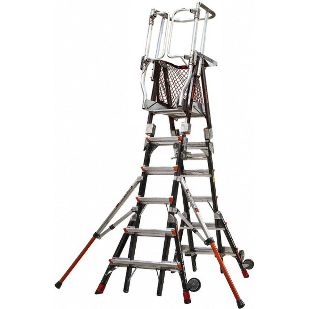 Compact Safety Cage Model 6-10 Adjustable Fiberglass Ladder - Type IAA