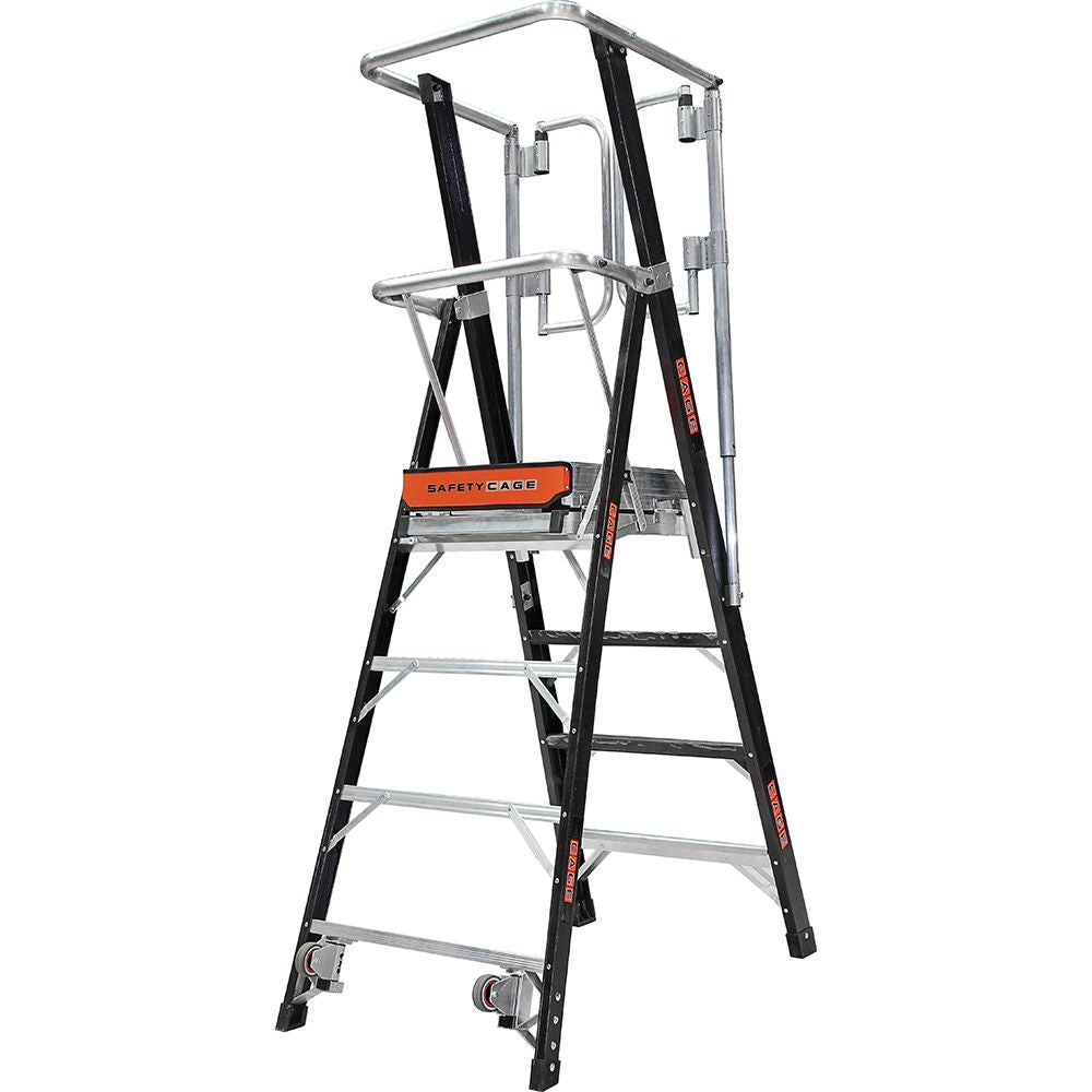 4 Ft. Safety Cage Fiberglass Step Ladder - Type IAA