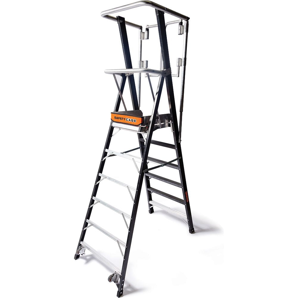 6 Ft. Safety Cage Fiberglass Step Ladder - Type IAA