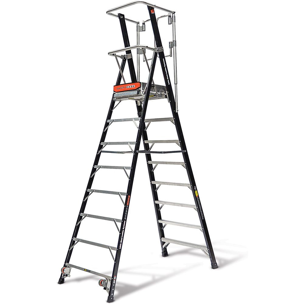 8 Ft. Safety Cage Fiberglass Step Ladder - Type IAA