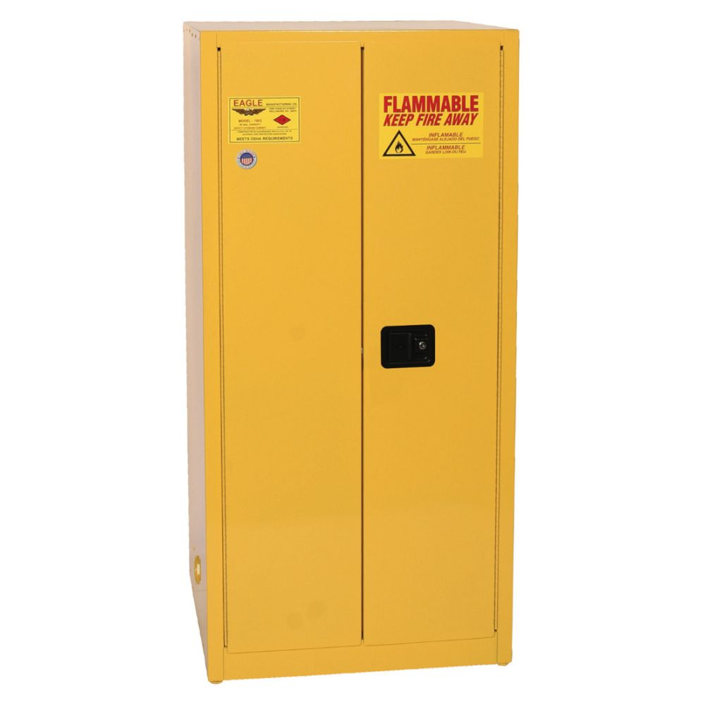 Flammable Liquid Safety Storage Cabinet, 60 Gal. Ylw, 2-Dr, Self Close
