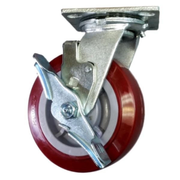 "6"" x 2"" Polymadic Wheel Swivel Caster W/ Top Lock Brake - 900 lbs. capacity"