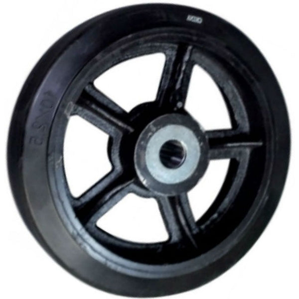 "12"" x 3"" Mold-On Rubber Cast Iron Wheel -1300 lbs. capacity"