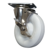 "5"" x 1-1/4"" Polyolefin Wheel Swivel Caster S.S., Top Lock Brake, 350# Cap"