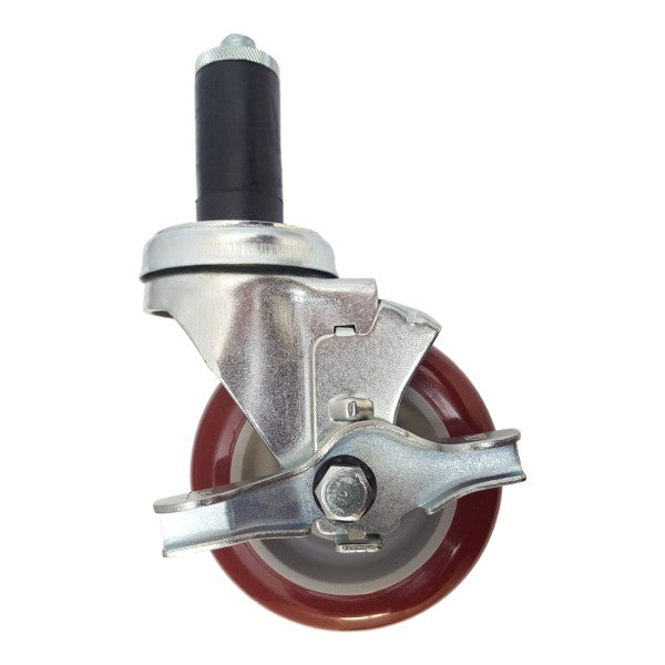 "4"" x 1-1/4"" Polymadic Thread Stem Caster, Expandable Adapter, Brake, 350 lbs. Capacity"