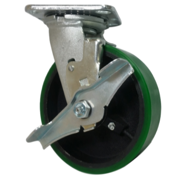 "6"" x 2"" Polyon Cast Wheel Swivel Caster w/ Top Lock Brake - 1200 lbs. Cap."