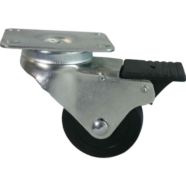 "3"" x 1-1/4"" Soft Rubber Swivel Caster, Total Lock Brake (Ball Bearing) 300 lbs Capacity"