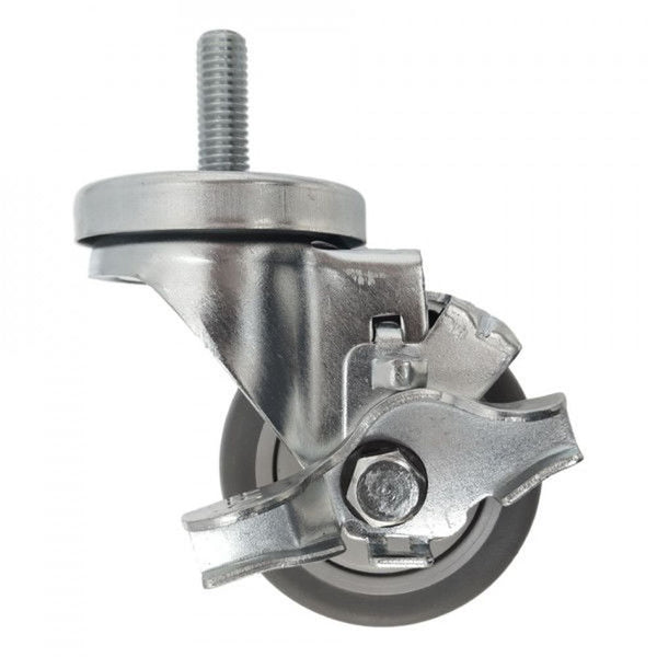 "3"" x 1-1/4"" Thermo-Pro Threaded Swivel Stem Caster, Brake (1/2"") 210 lbs. Cap"