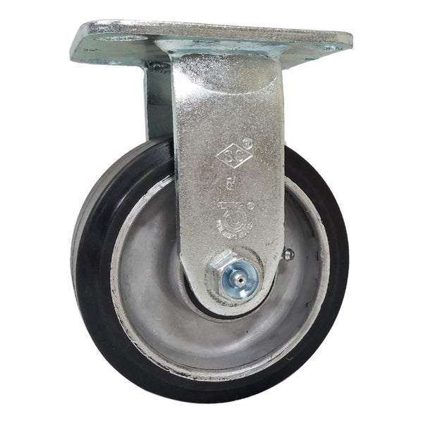 "5"" x 2"" Mold-On Rubber Aluminum Wheel Rigid Caster - 500 lbs. Capacity"